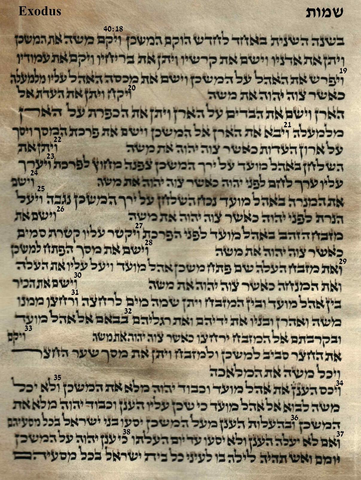 Exodus 40.18 -40.38