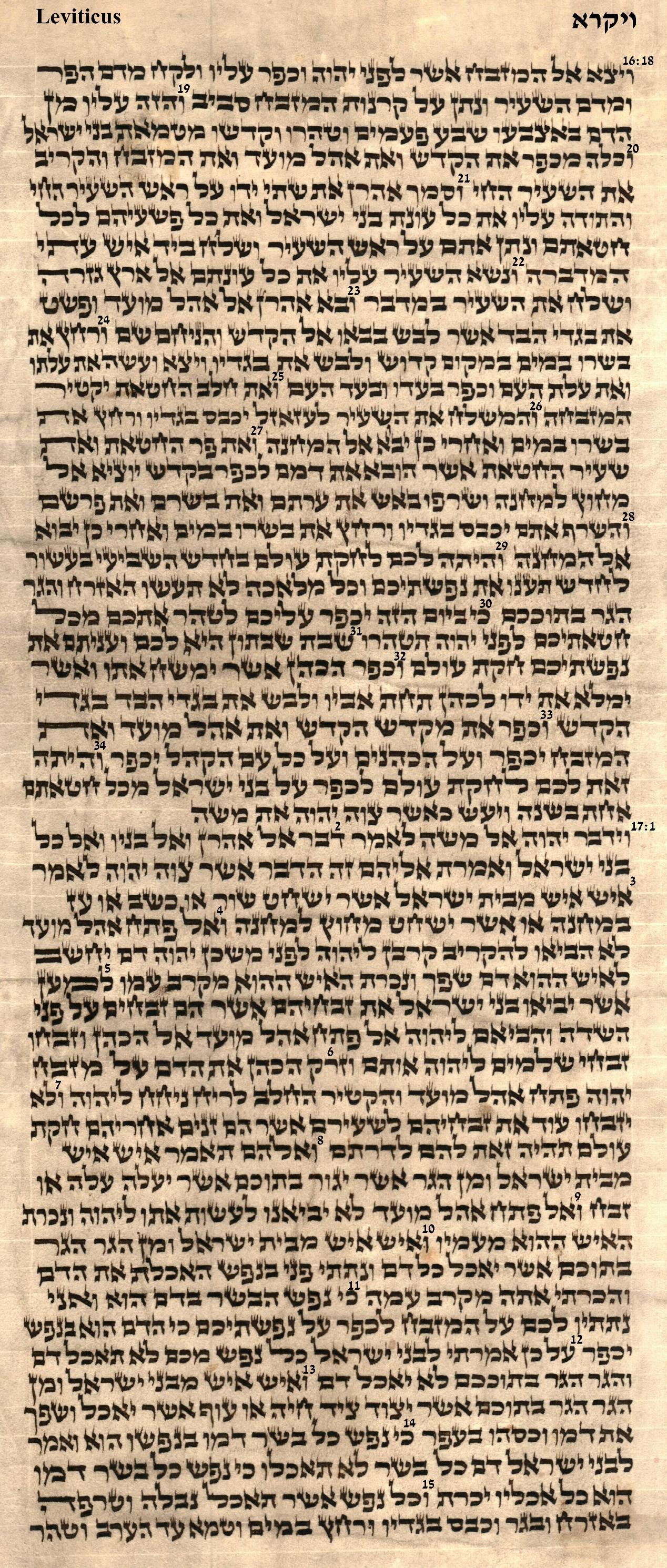 Leviticus 16.18 - 17.15