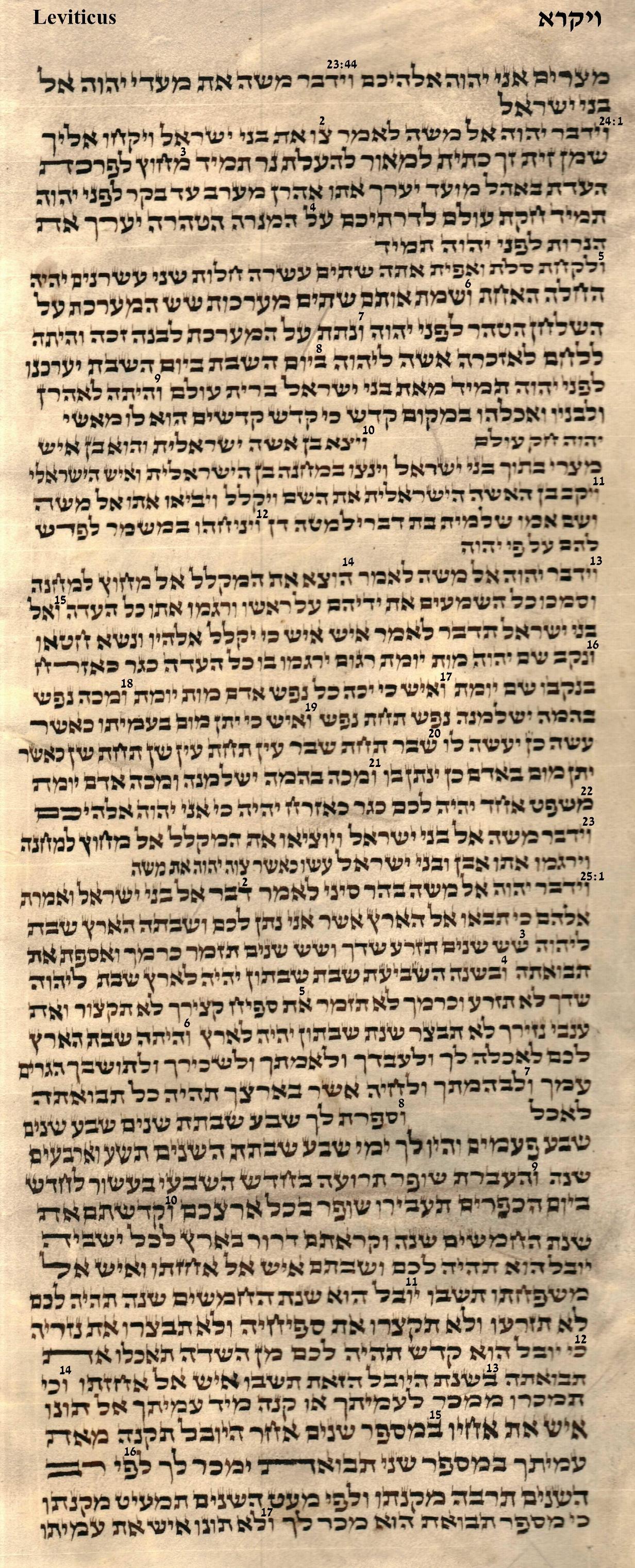 Leviticus 23.44 - 25.17