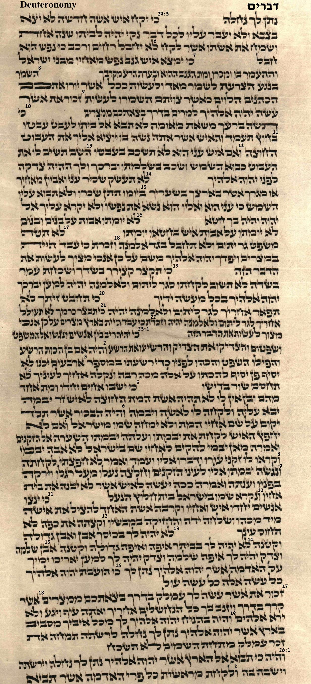Deuteronomy 24.5 - 26.2