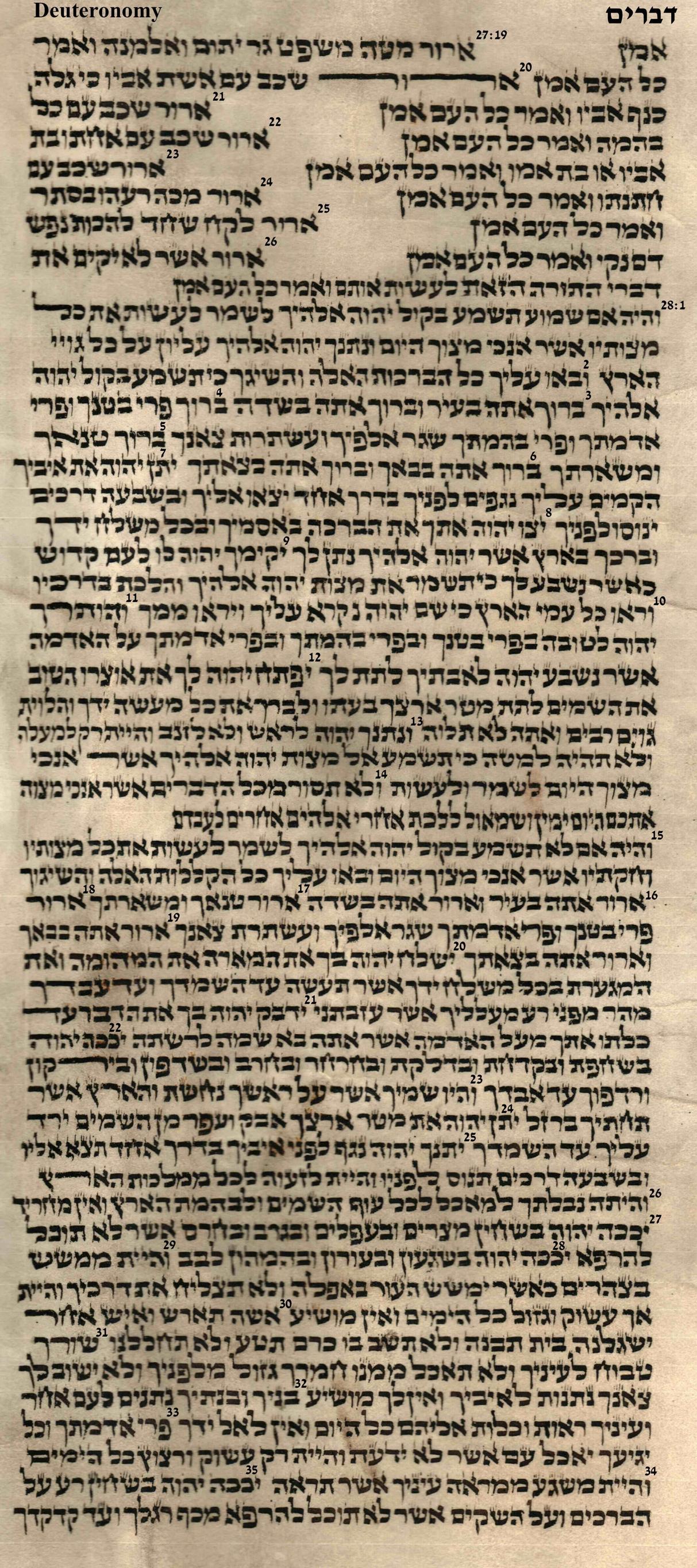 Deuteronomy 27.19 - 28.35
